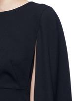 Cape sleeve virgin wool crepe dress