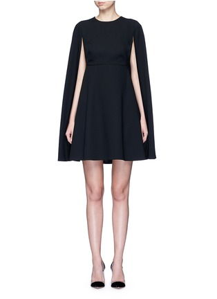 Main View - Click To Enlarge - Valentino - Cape sleeve virgin wool crepe dress