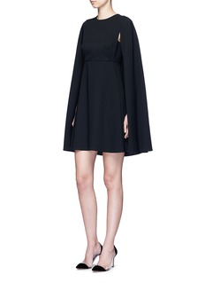 VALENTINO Cape sleeve virgin wool crepe dress