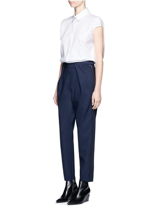 Figure View - Click To Enlarge - Balenciaga - Tuxedo stripe zip cuff pants