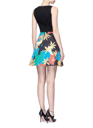 Back View - Click To Enlarge - alice + olivia - 'Kourtney' floral print boat neck pleat dress