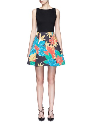 alice + olivia-'Kourtney' floral print boat neck pleat dress