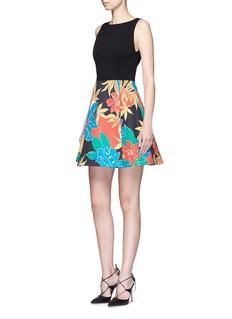 ALICE + OLIVIA'Kourtney' floral print boat neck pleat dress