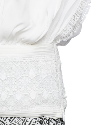 Detail View - Click To Enlarge - Talitha - French lace tassel neck silk kimono top