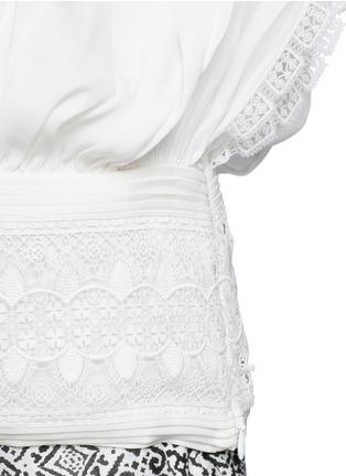 Talitha-French lace tassel neck silk kimono top