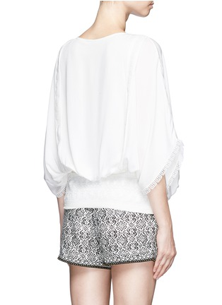 Back View - Click To Enlarge - Talitha - French lace tassel neck silk kimono top