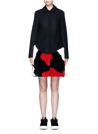Main View - Click To Enlarge - MSGM - Patchwork rabbit fur wool blend coat