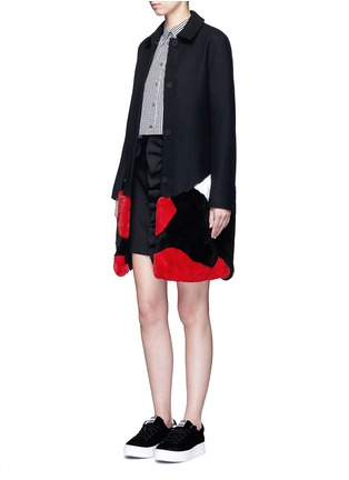 Figure View - Click To Enlarge - MSGM - Patchwork rabbit fur wool blend coat