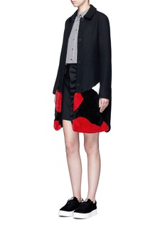 MSGM Patchwork rabbit fur wool blend coat