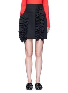 MSGMAsymmetric ruffle trim skirt