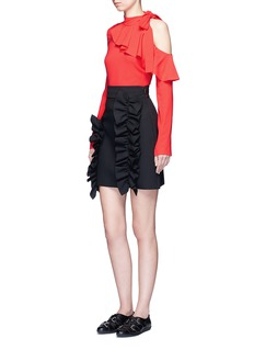 MSGM Asymmetric ruffle trim skirt
