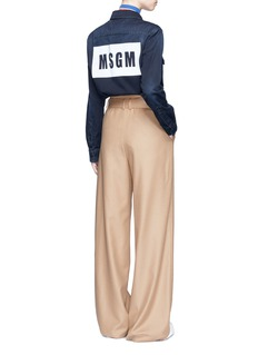 MSGM Logo print cotton denim shirt