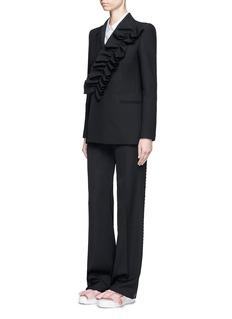 MSGMAsymmetric ruffle trim blazer