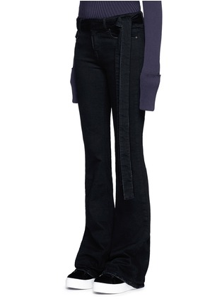 Front View - Click To Enlarge - MSGM - Belted cotton flared jeans