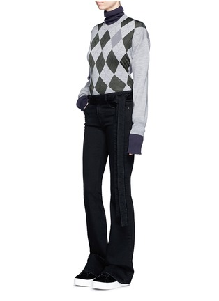 Figure View - Click To Enlarge - MSGM - Belted cotton flared jeans