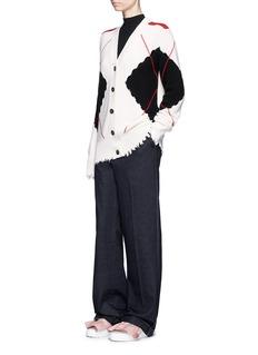MSGMArgyle check intarsia cutout cardigan