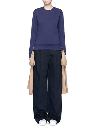 Main View - Click To Enlarge - MSGM - Ribbon tie cotton sweatshirt