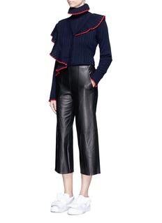 MSGMAsymmetric ruffle trim rib knit cardigan