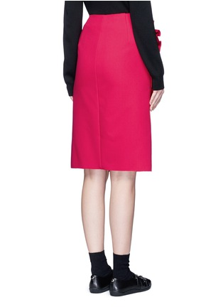 Back View - Click To Enlarge - MSGM - Slant ruffle trim wrapped skirt