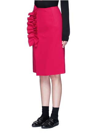 Front View - Click To Enlarge - MSGM - Slant ruffle trim wrapped skirt