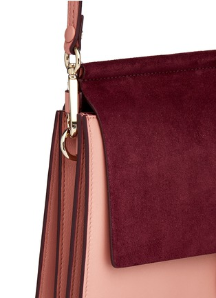 - Chloé - 'Faye' medium colourblock suede flap leather shoulder bag