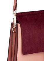 'Faye' medium colourblock suede flap leather shoulder bag