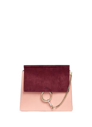 Main View - Click To Enlarge - Chloé - 'Faye' medium colourblock suede flap leather shoulder bag