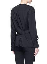 'Dorcey' wrap front silk-virgin wool top