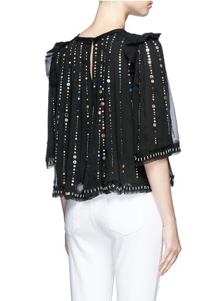 Back View - Click To Enlarge - Isabel Marant - 'Fordon' sequin galaxy embroidery silk chiffon top