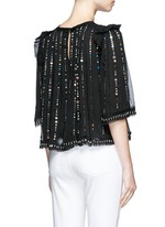 'Fordon' sequin galaxy embroidery silk chiffon top