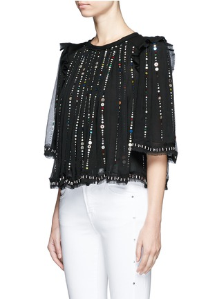 Front View - Click To Enlarge - Isabel Marant - 'Fordon' sequin galaxy embroidery silk chiffon top