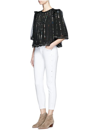 Figure View - Click To Enlarge - Isabel Marant - 'Fordon' sequin galaxy embroidery silk chiffon top