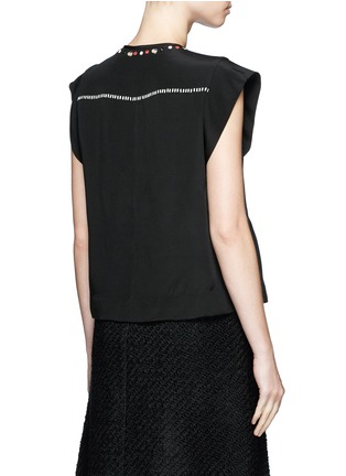 Back View - Click To Enlarge - Isabel Marant - 'Florent' eyelet embellished butterfly sleeve silk top