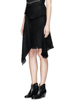 Fringed asymmetric drape wrap tweed skirt