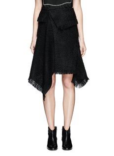 Isabel MarantFringed asymmetric drape wrap tweed skirt