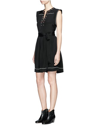 Isabel Marant - 'Fergie' eyelet embellished butterfly sleeve silk dress