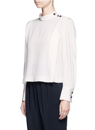 Front View - Click To Enlarge - Isabel Marant - 'Belissa' shoulder button drape crepe top