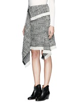 Fringed asymmetric drape wrap tweed skirt