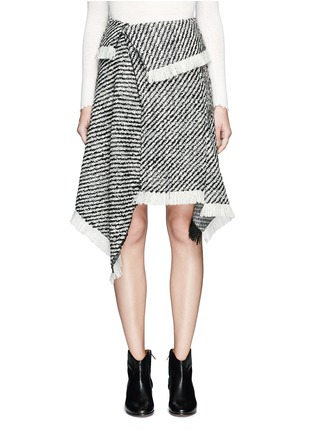 Main View - Click To Enlarge - Isabel Marant - Fringed asymmetric drape wrap tweed skirt
