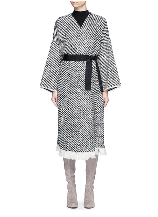 Isabel Marant - 'Iban' grosgrain waist fringe tweed coat