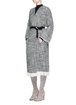 'Iban' grosgrain waist fringe tweed coat