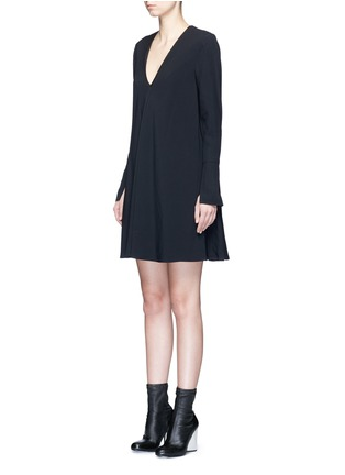 Front View - Click To Enlarge - Proenza Schouler - V-neck crepe flare dress