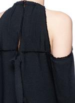Torque neck cold shoulder crepe top