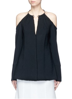 Proenza Schouler Torque neck cold shoulder crepe top
