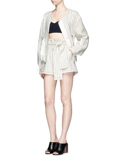 3.1 Phillip LimSleeve cutout pinstripe linen bomber jacket