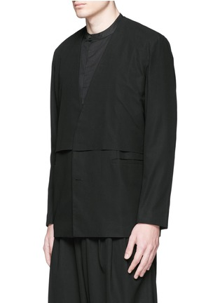 Front View - Click To Enlarge - FFIXXED STUDIOS - 'Composite' overlay V-neck blazer