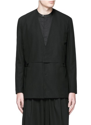 Main View - Click To Enlarge - FFIXXED STUDIOS - 'Composite' overlay V-neck blazer