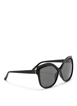 Figure View - Click To Enlarge - Linda Farrow - Oversize acetate square cat eye sunglasses