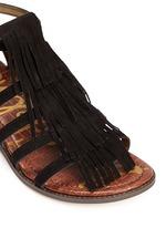 'Estelle' fringe caged suede sandals