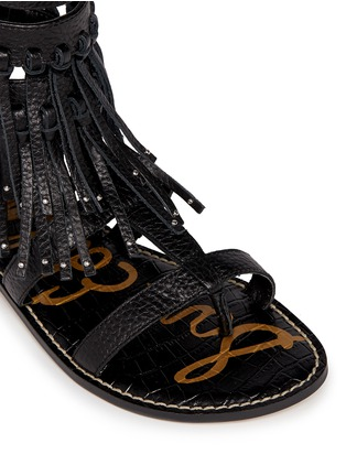 Detail View - Click To Enlarge - Sam Edelman - 'Gardenia' fringe trim leather gladiator sandals